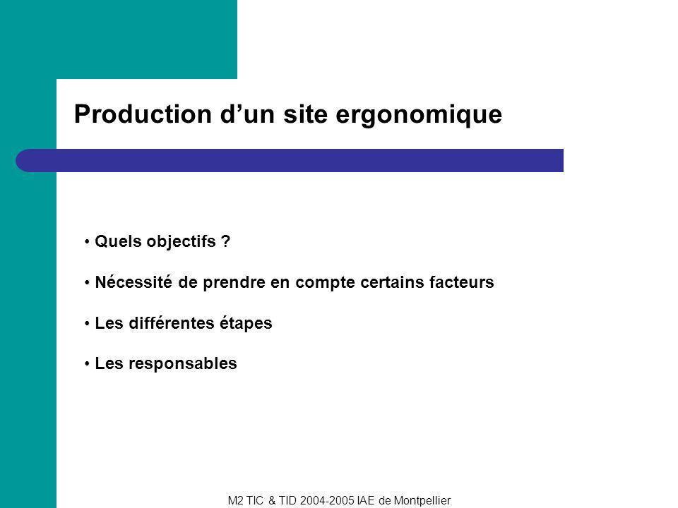 M2 TIC & TID 2004-2005 IAE de Montpellier Production dun site ergonomique Quels objectifs ? Nécessité de prendre en compte certains facteurs Les diffé