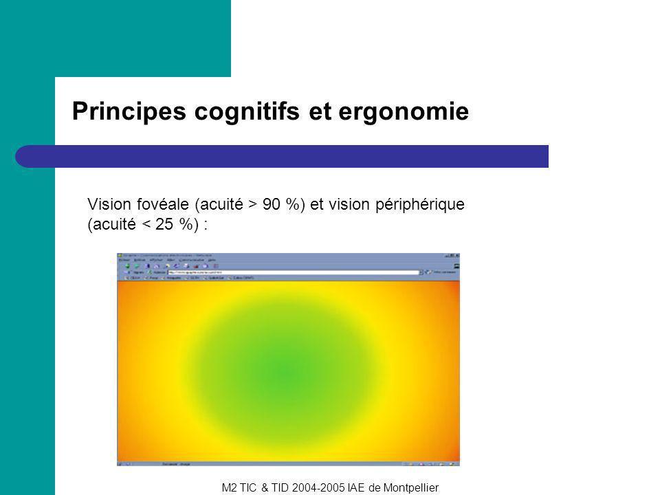 M2 TIC & TID 2004-2005 IAE de Montpellier Principes cognitifs et ergonomie Vision fovéale (acuité > 90 %) et vision périphérique (acuité < 25 %) :