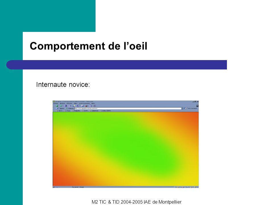 M2 TIC & TID 2004-2005 IAE de Montpellier Comportement de loeil Internaute initié: