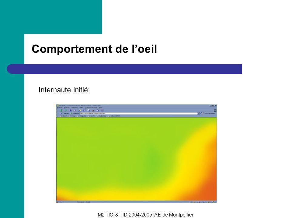 M2 TIC & TID 2004-2005 IAE de Montpellier Psychologie de la perception visuelle Conséquences: importance des espaces vides ne pas surcharger les pages utiliser des informations « intéressantes »