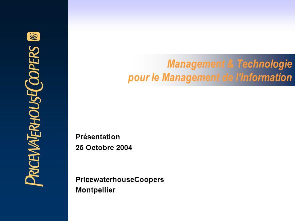 Management & Technologie pour le Management de lInformation Présentation 25 Octobre 2004 PricewaterhouseCoopers Montpellier