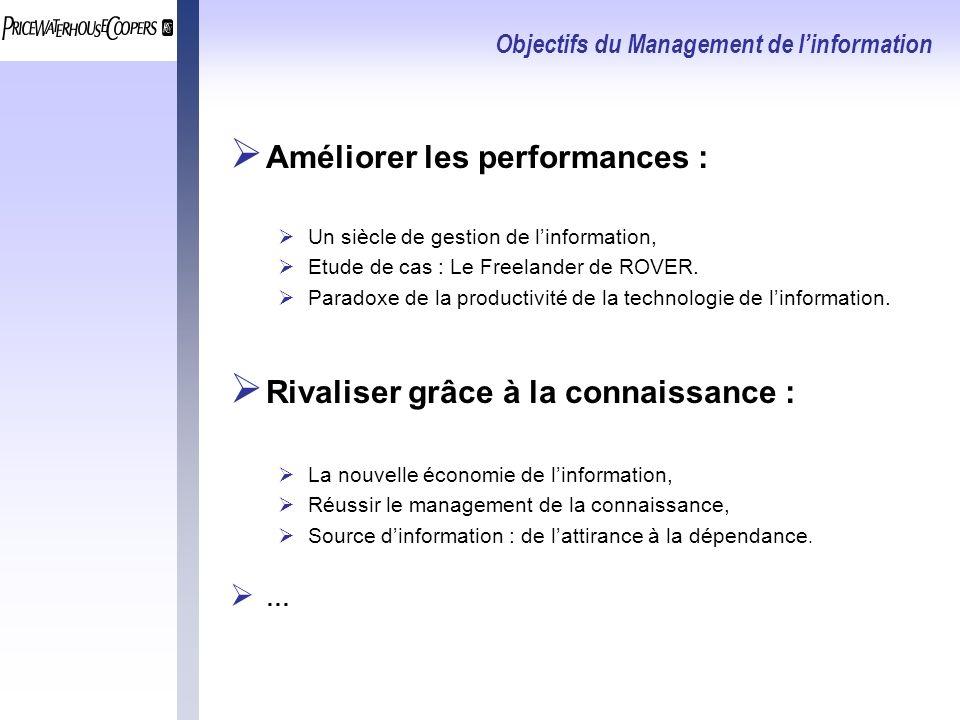 Objectifs du Management de linformation Améliorer les performances : Un siècle de gestion de linformation, Etude de cas : Le Freelander de ROVER.
