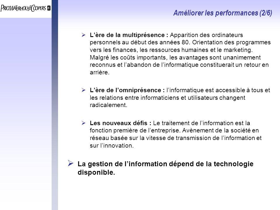 Améliorer les performances (2/6) Lère de la multiprésence : Apparition des ordinateurs personnels au début des années 80.