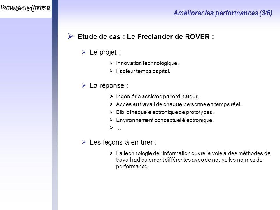 Améliorer les performances (3/6) Etude de cas : Le Freelander de ROVER : Le projet : Innovation technologique, Facteur temps capital.