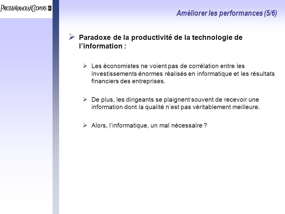Améliorer les performances (5/6) Paradoxe de la productivité de la technologie de linformation : Les économistes ne voient pas de corrélation entre les investissements énormes réalisés en informatique et les résultats financiers des entreprises.