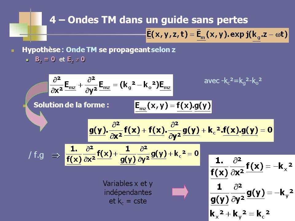 10 4 – Ondes TM dans un guide sans pertes / f.g Hypothèse : Onde TM se propageant selon z B z = 0E z 0 B z = 0 et E z 0 avec -k c ²=k g ²-k o ² Soluti
