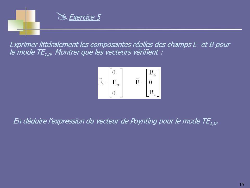 15 Exprimer littéralement les composantes réelles des champs E et B pour le mode TE 1,0. Montrer que les vecteurs vérifient : En déduire lexpression d