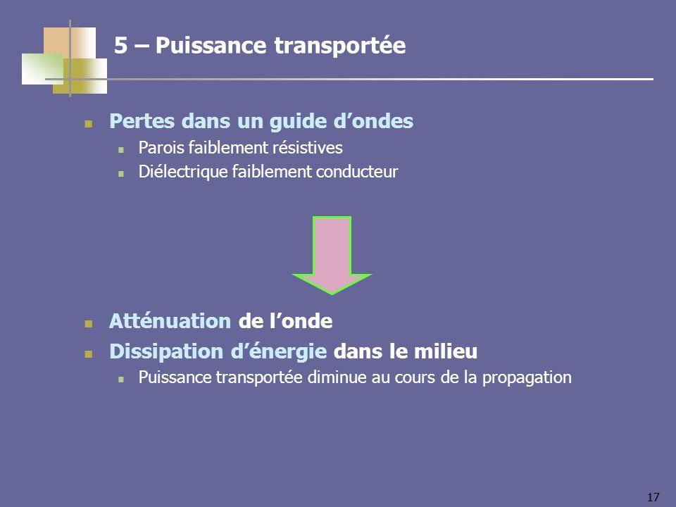 17 Pertes dans un guide dondes Parois faiblement résistives Diélectrique faiblement conducteur Atténuation de londe Dissipation dénergie dans le milie