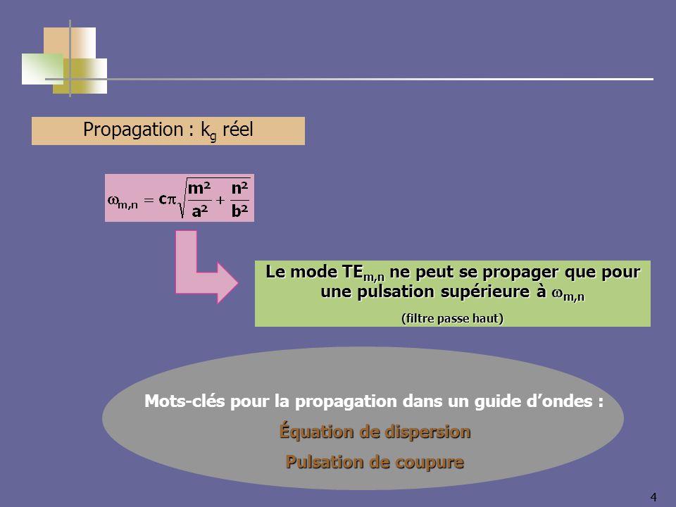 44 Propagation : k g réel Le mode TE m,n ne peut se propager que pour une pulsation supérieure à m,n (filtre passe haut) Mots-clés pour la propagation
