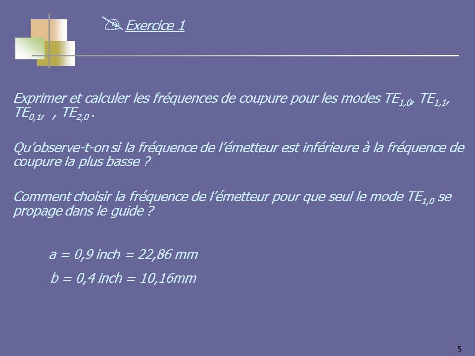 55 Exprimer et calculer les fréquences de coupure pour les modes TE 1,0, TE 1,1, TE 0,1,, TE 2,0. Quobserve-t-on si la fréquence de lémetteur est infé