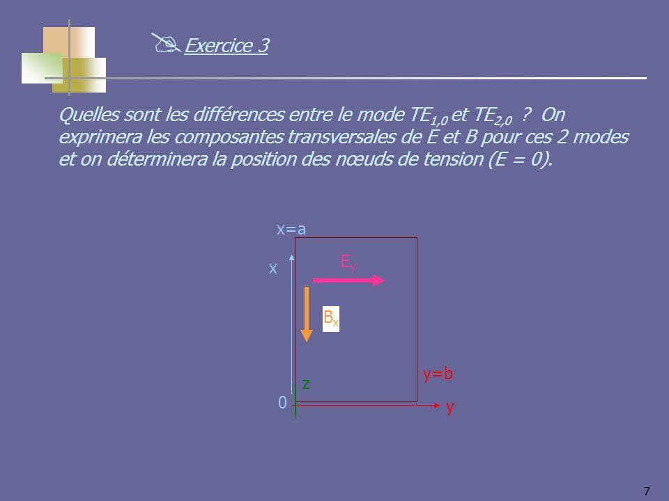 77 Quelles sont les différences entre le mode TE 1,0 et TE 2,0 ? On exprimera les composantes transversales de E et B pour ces 2 modes et on détermine