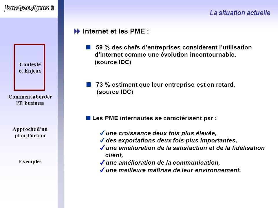 Contexte et Enjeux Comment aborder l'E-business Approche d'un plan d'action Exemples Internet et les PME : La situation actuelle n Les PME internautes