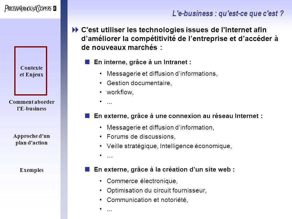 Contexte et Enjeux Comment aborder l'E-business Approche d'un plan d'action Exemples L'e-business : qu'est-ce que c'est ? C'est utiliser les technolog