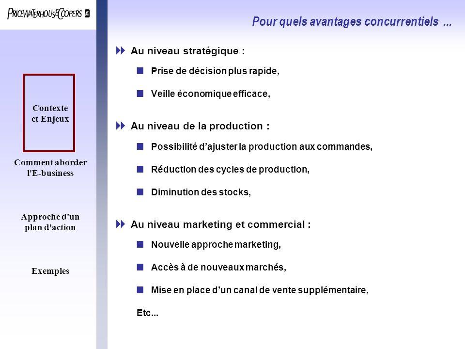 Contexte et Enjeux Comment aborder l'E-business Approche d'un plan d'action Exemples Pour quels avantages concurrentiels... Au niveau stratégique : nP