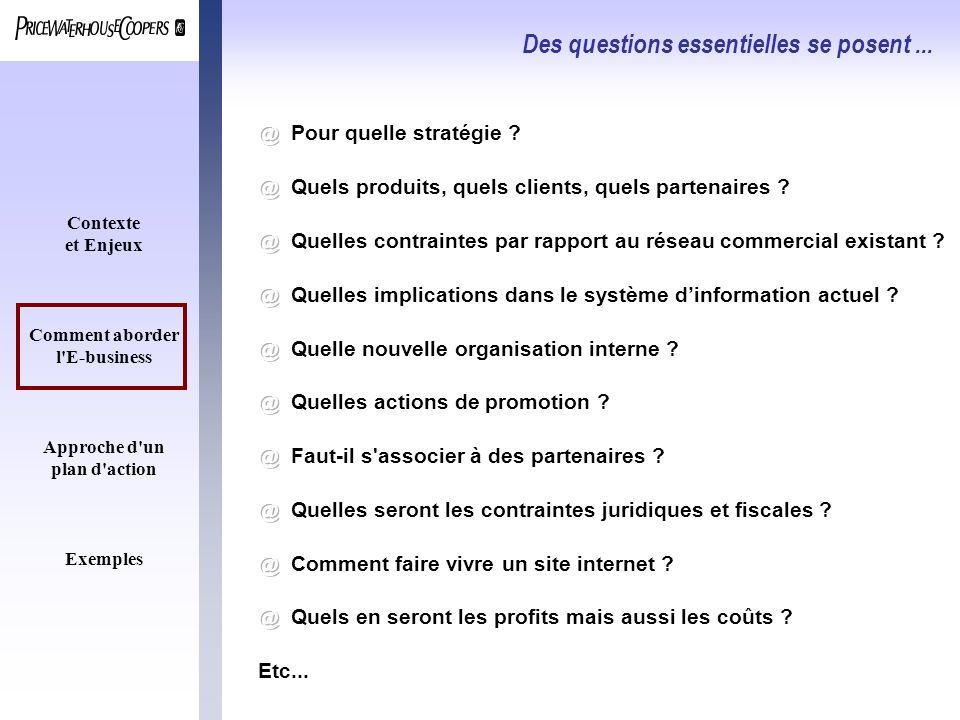 Contexte et Enjeux Comment aborder l'E-business Approche d'un plan d'action Exemples Des questions essentielles se posent...