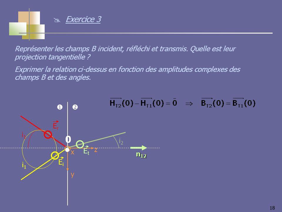 18 n 12 i2i2 i1i1 i1i1 z y x EiEi ErEr EtEt 0 Représenter les champs B incident, réfléchi et transmis. Quelle est leur projection tangentielle ? Expri