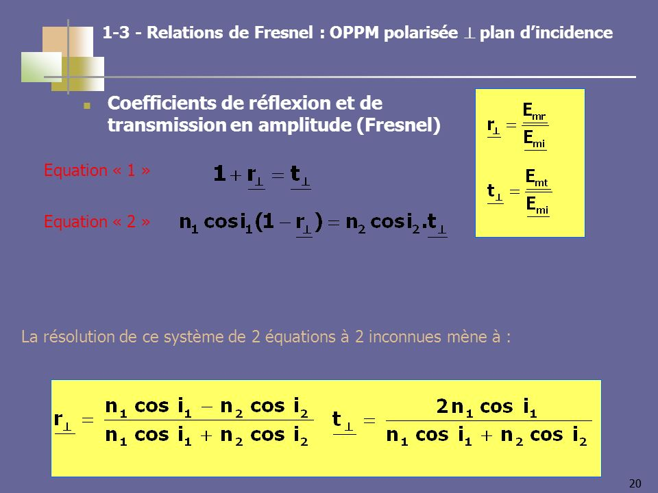 20 Coefficients de réflexion et de transmission en amplitude (Fresnel) Equation « 1 » Equation « 2 » Relations de Fresnel : OPPM polarisée plan dincidence La résolution de ce système de 2 équations à 2 inconnues mène à :