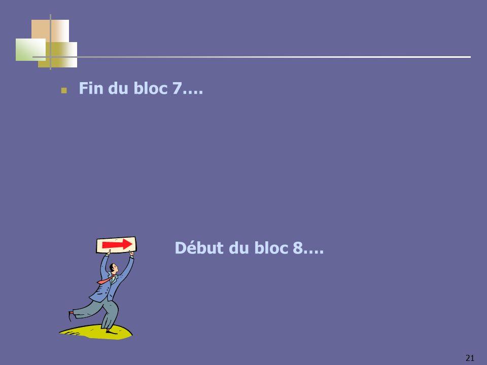 21 Fin du bloc 7…. Début du bloc 8….