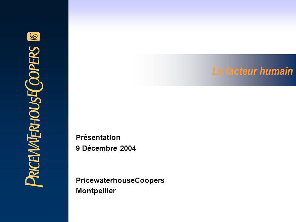 Le facteur humain Présentation 9 Décembre 2004 PricewaterhouseCoopers Montpellier