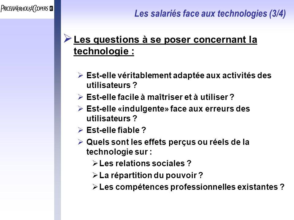 Les salariés face aux technologies (3/4) Les questions à se poser concernant la technologie : Est-elle véritablement adaptée aux activités des utilisa
