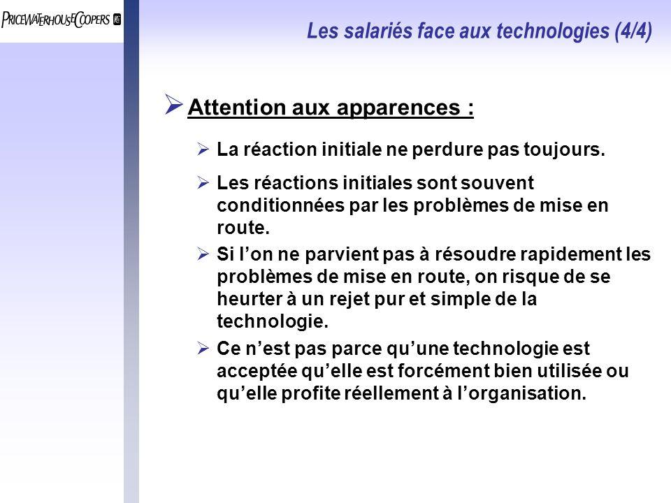 Les salariés face aux technologies (4/4) Attention aux apparences : La réaction initiale ne perdure pas toujours.