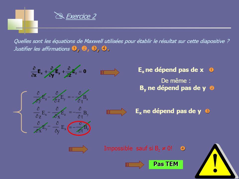 12 E x ne dépend pas de x De même : B y ne dépend pas de y zxy yzx xyz B t E y E x B t E x E z B t E z E y E x ne dépend pas de y Impossible sauf si B z 0.