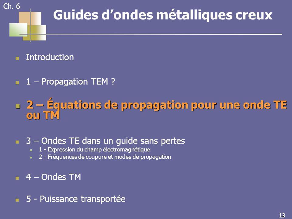 13 Ch. 6 Guides dondes métalliques creux Introduction 1 – Propagation TEM .