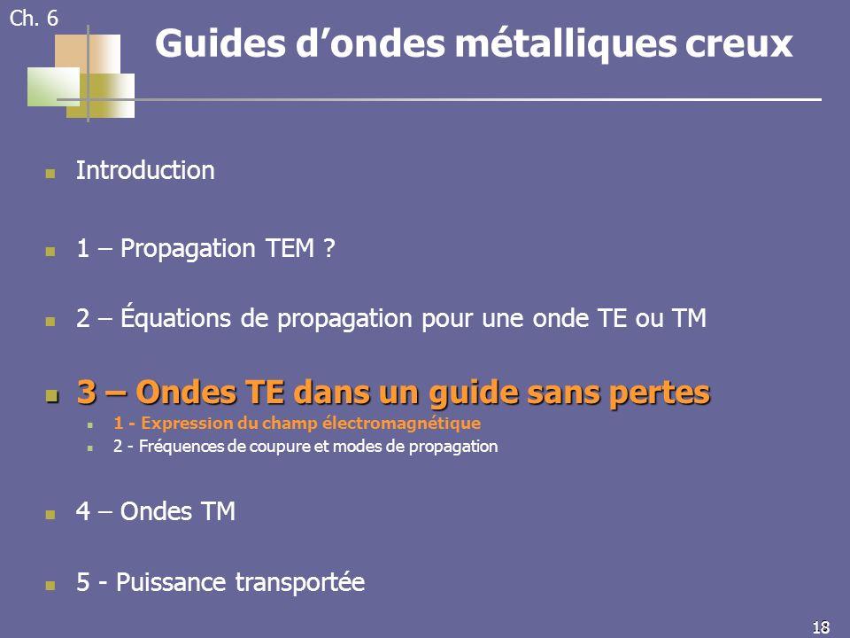 18 Ch. 6 Guides dondes métalliques creux Introduction 1 – Propagation TEM .