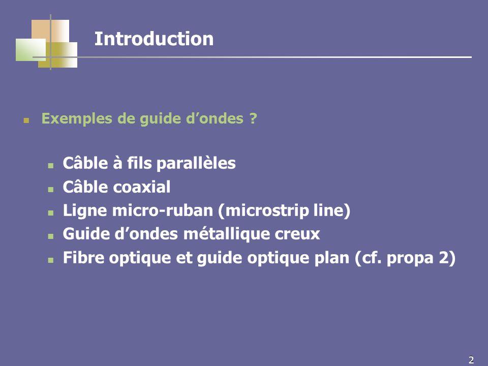 13 Ch.6 Guides dondes métalliques creux Introduction 1 – Propagation TEM .