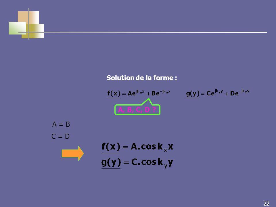 22 Solution de la forme : A = B C = D A, B, C, D