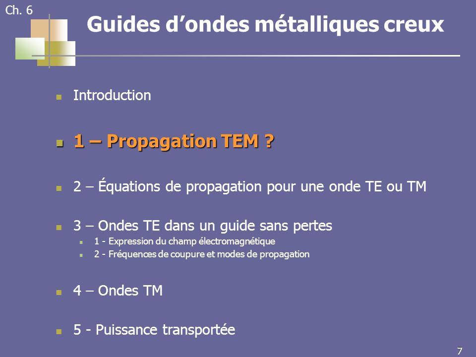 7 7 Ch. 6 Guides dondes métalliques creux Introduction 1 – Propagation TEM .