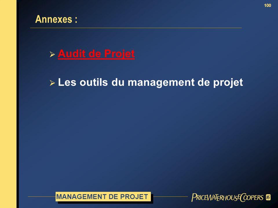100 Annexes : MANAGEMENT DE PROJET Audit de Projet Les outils du management de projet