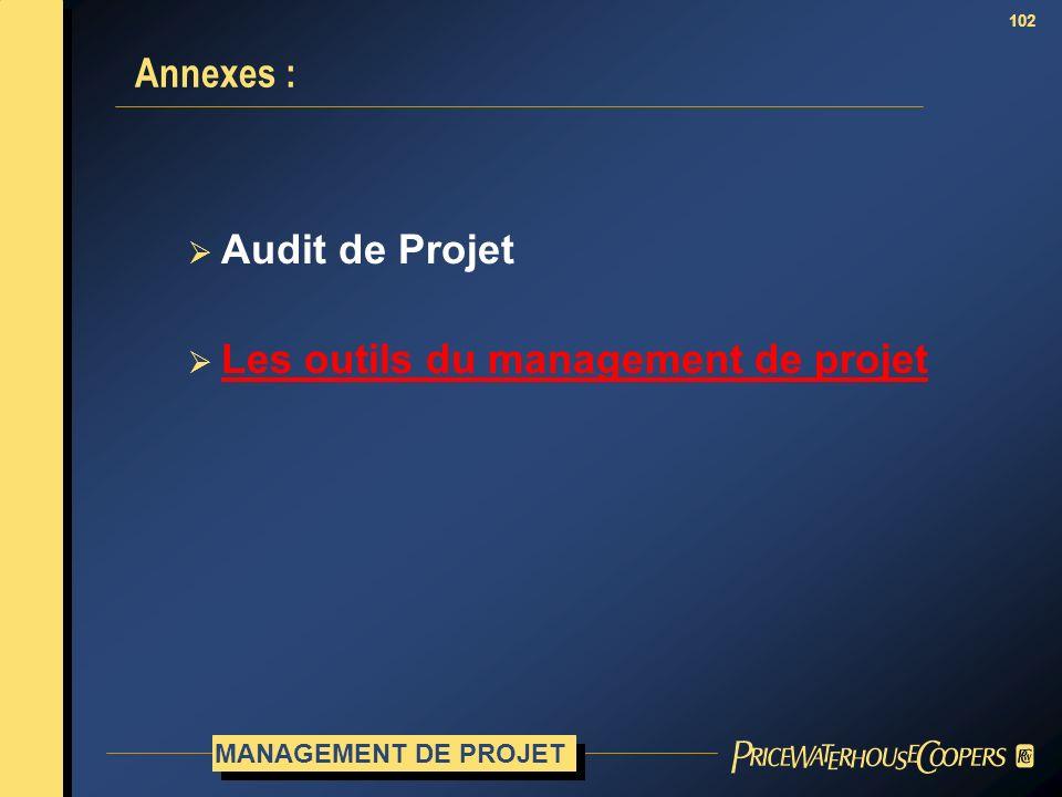 102 Annexes : Audit de Projet Les outils du management de projet MANAGEMENT DE PROJET