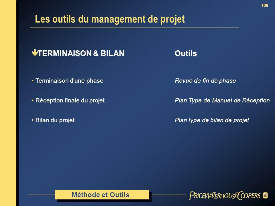 106 ê TERMINAISON & BILAN Outils Terminaison d'une phaseRevue de fin de phase Réception finale du projetPlan Type de Manuel de Réception Bilan du proj