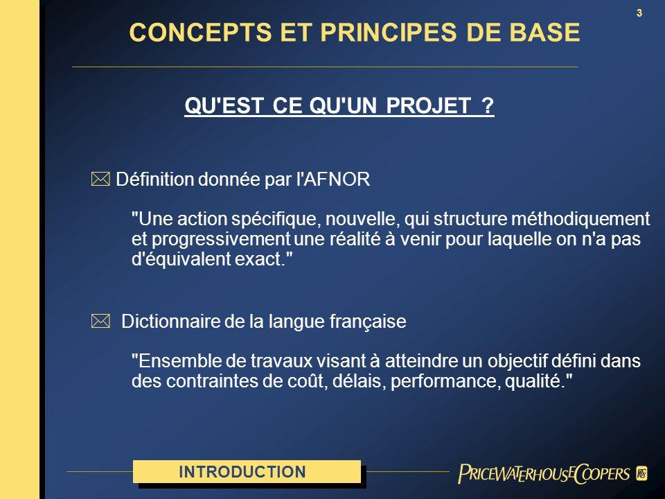 3 CONCEPTS ET PRINCIPES DE BASE QU'EST CE QU'UN PROJET ? INTRODUCTION * Définition donnée par l'AFNOR