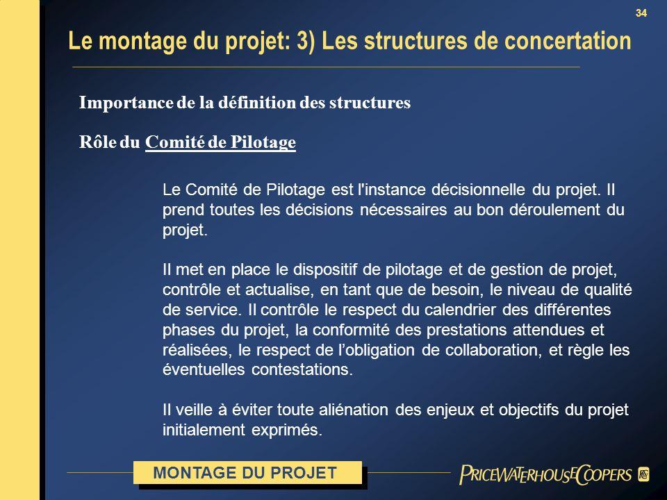 34 Importance de la définition des structures Rôle du Comité de Pilotage Le Comité de Pilotage est l'instance décisionnelle du projet. Il prend toutes