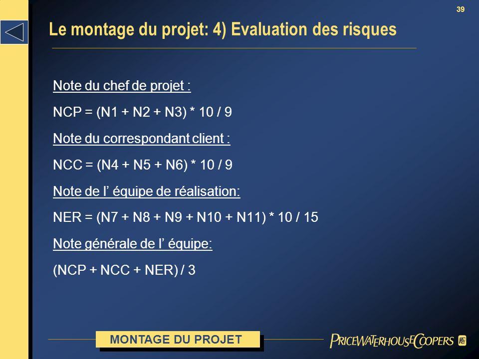 39 Note du chef de projet : NCP = (N1 + N2 + N3) * 10 / 9 Note du correspondant client : NCC = (N4 + N5 + N6) * 10 / 9 Note de l équipe de réalisation