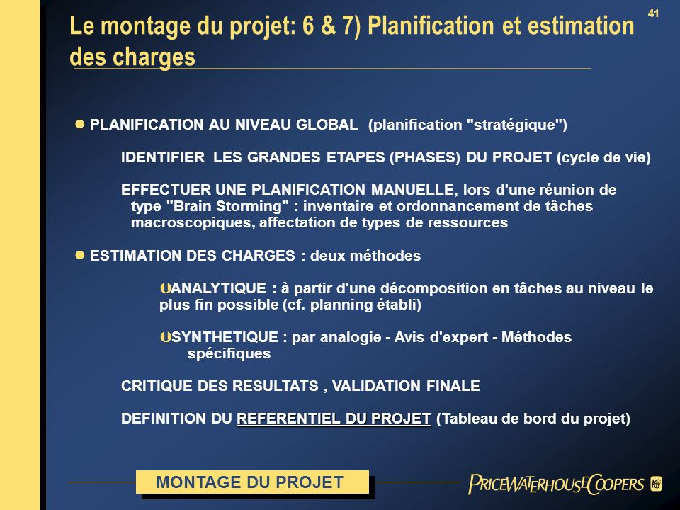 41 l PLANIFICATION AU NIVEAU GLOBAL (planification