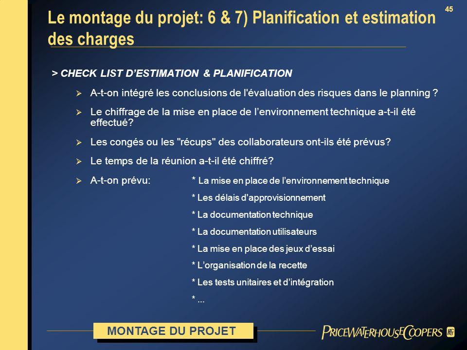 45 > CHECK LIST DESTIMATION & PLANIFICATION A-t-on intégré les conclusions de l'évaluation des risques dans le planning ? Le chiffrage de la mise en p