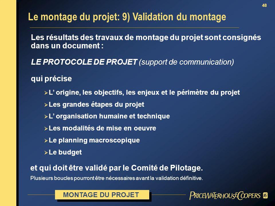 48 Le montage du projet: 9) Validation du montage MONTAGE DU PROJET Les résultats des travaux de montage du projet sont consignés dans un document : L