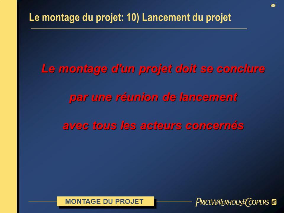 49 Le montage d'un projet doit se conclure par une réunion de lancement avec tous les acteurs concernés Le montage du projet: 10) Lancement du projet