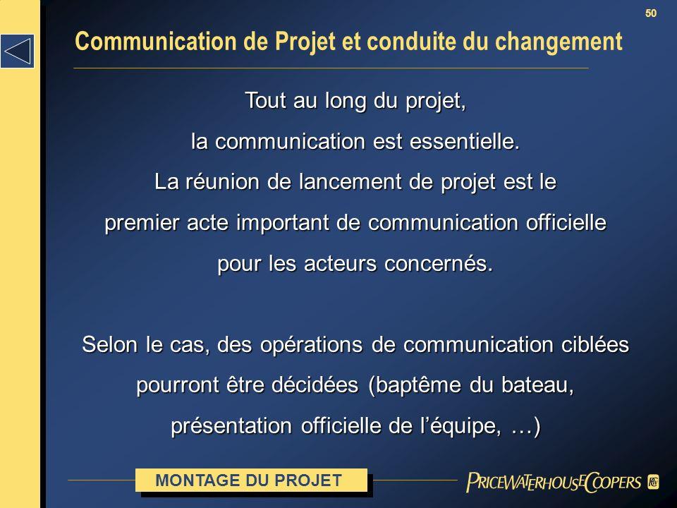 50 Communication de Projet et conduite du changement MONTAGE DU PROJET Tout au long du projet, la communication est essentielle. La réunion de lanceme