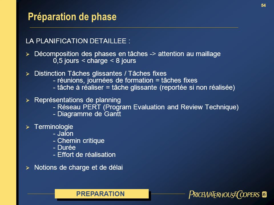 54 LA PLANIFICATION DETAILLEE : Décomposition des phases en tâches -> attention au maillage 0,5 jours < charge < 8 jours Distinction Tâches glissantes