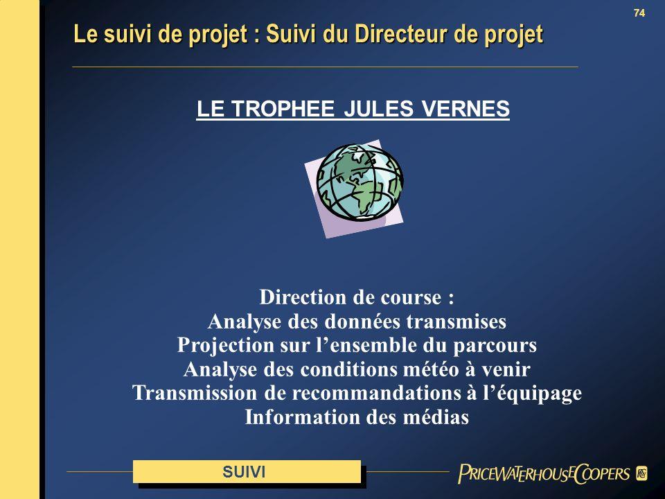 74 SUIVI Le suivi de projet : Suivi du Directeur de projet LE TROPHEE JULES VERNES Direction de course : Analyse des données transmises Projection sur