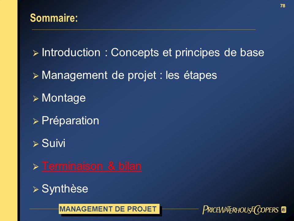78 Sommaire: Introduction : Concepts et principes de base Management de projet : les étapes Montage Préparation Suivi Terminaison & bilan Synthèse MAN