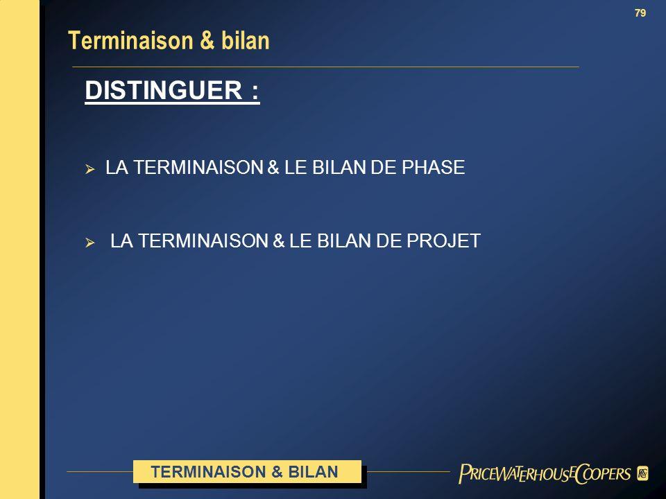 79 Terminaison & bilan DISTINGUER : LA TERMINAISON & LE BILAN DE PHASE LA TERMINAISON & LE BILAN DE PROJET TERMINAISON & BILAN