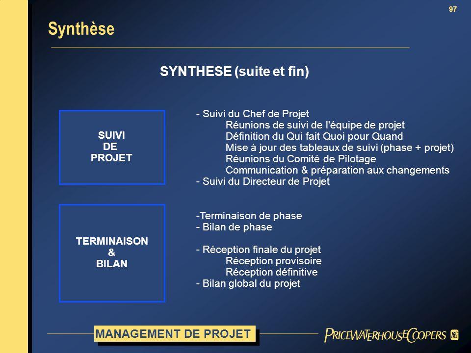 97 SYNTHESE (suite et fin) SUIVI DE PROJET - Suivi du Chef de Projet Réunions de suivi de l'équipe de projet Définition du Qui fait Quoi pour Quand Mi