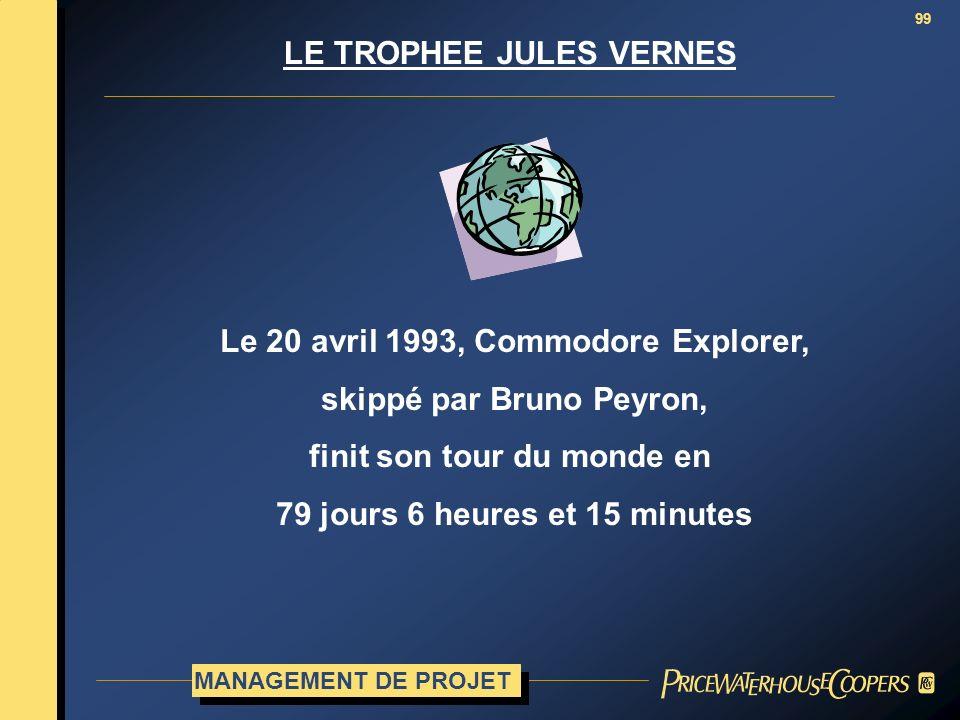 99 LE TROPHEE JULES VERNES Le 20 avril 1993, Commodore Explorer, skippé par Bruno Peyron, finit son tour du monde en 79 jours 6 heures et 15 minutes M