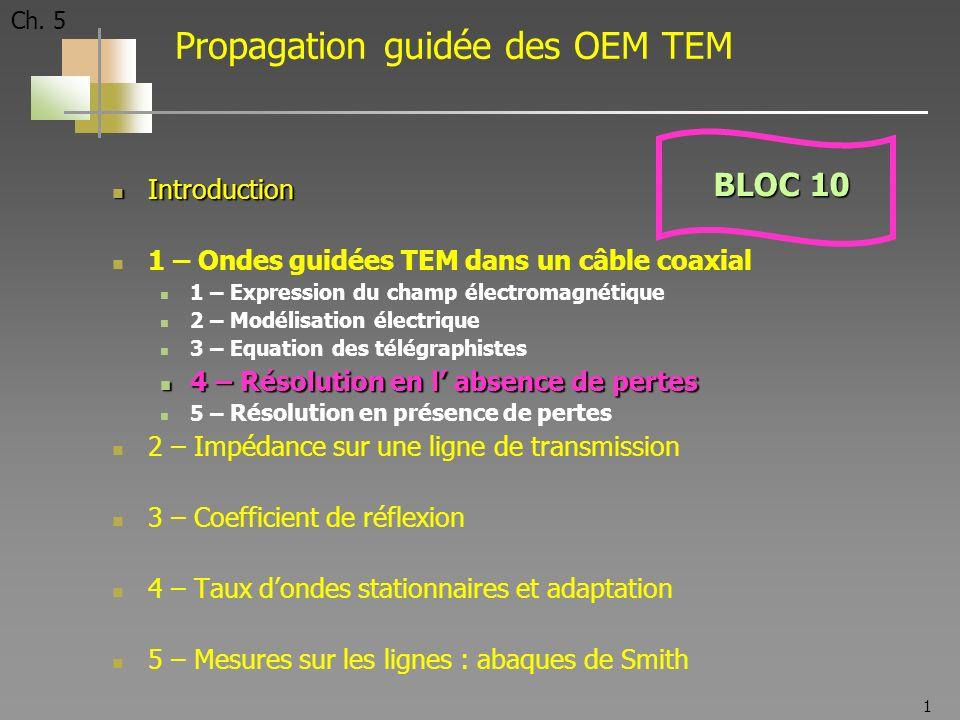 1 Ch. 5 Propagation guidée des OEM TEM Introduction Introduction 1 – Ondes guidées TEM dans un câble coaxial 1 – Expression du champ électromagnétique