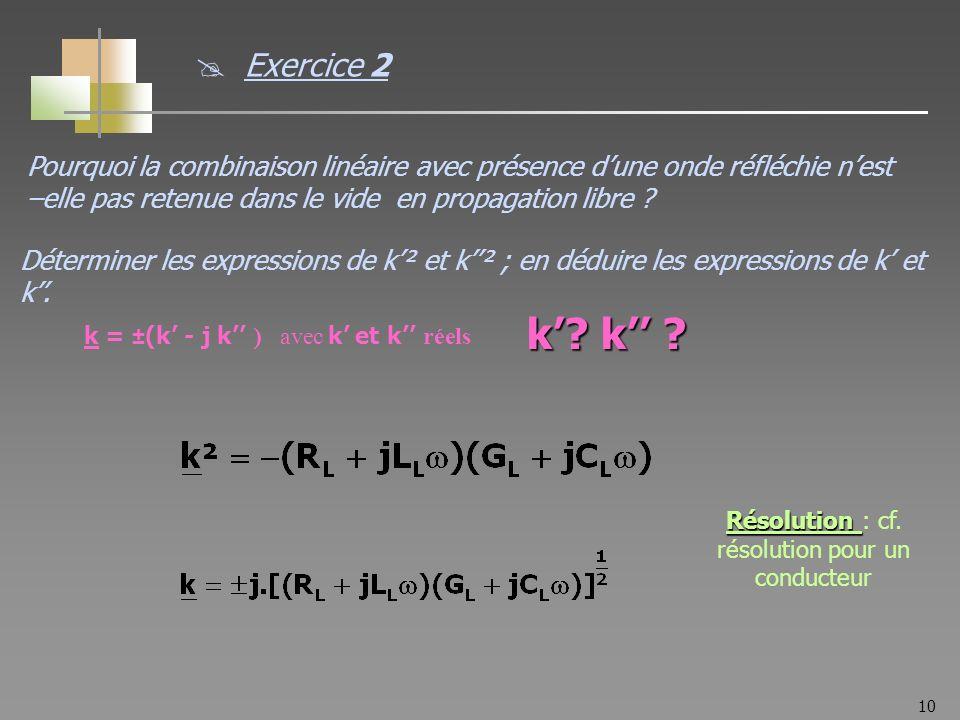 10 Pourquoi la combinaison linéaire avec présence dune onde réfléchie nest –elle pas retenue dans le vide en propagation libre ? Exercice 2 k = ±(k -